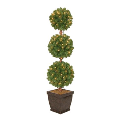 shop holiday living 4 ft pre lit triple ball topiary