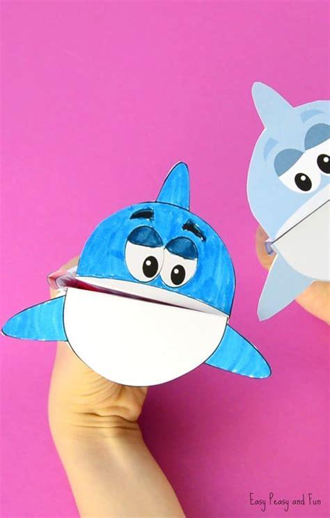 printable shark puppet shark puppet shark craft shark coloring pages