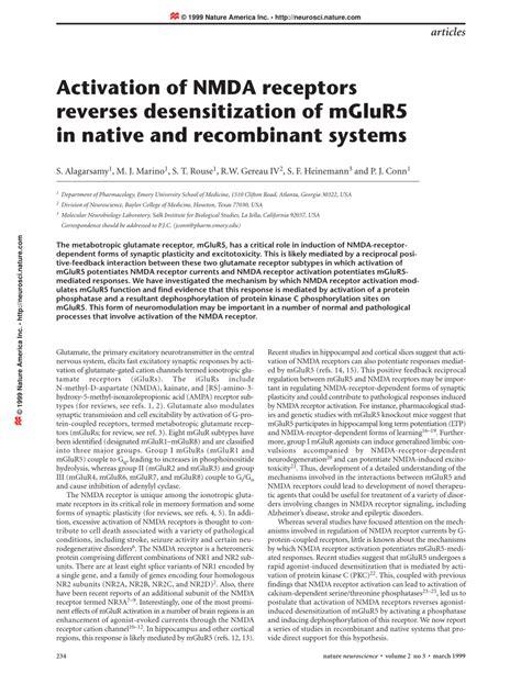 full form of nmda activation of nmda receptors reverses desensitization of