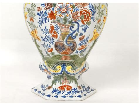 pot couvert vase potiche fa 239 ence delft oiseau perroquet fleurs xix 232 si 232 cle