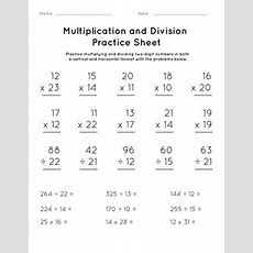 Multiplication And Division Practice Sheet #2  Worksheet Educationcom