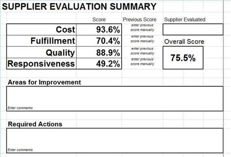 supplier evaluation scorecard   microsoft excel