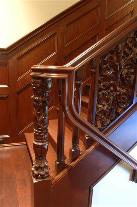 hand carved stair traditional staircase  metro