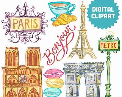 Paris France Clip Clipart Collage French Tower