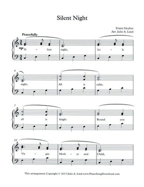 Watch this easy piano tutorial to learn how to play the christmas carol, silent night, on your piano or keyboard. Silent Night - Free Level 2 Christmas piano sheet music with lyrics