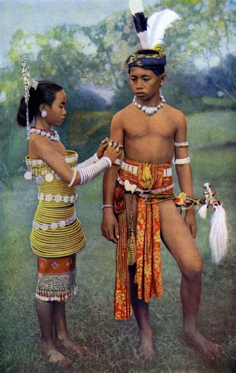 young iban  sea dayaks people  gala attire borneo