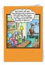 hunting frozen turkey humorous thanksgiving paper card
