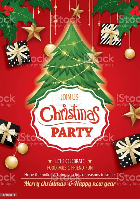Merry Christmas Party And Tree On Red Background