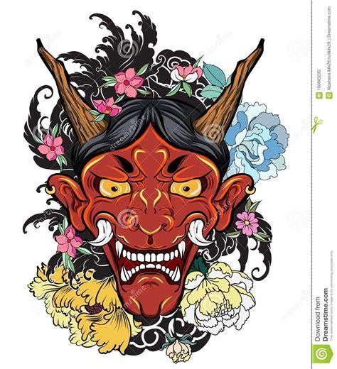 japanese  dragon tattoo  armhand drawn oni mask