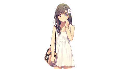 white background brunette long hair
