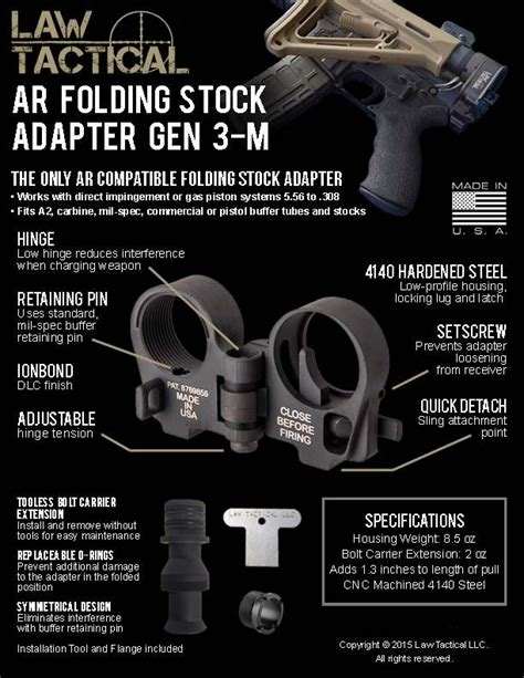 law tactical ar folding stock adapter gen