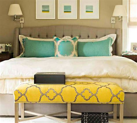gorgeous grey turquoise  yellow bedroom designs