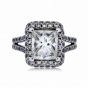 18k white gold 242ct radiant cut halo set engagement ring With radiant cut diamond wedding rings
