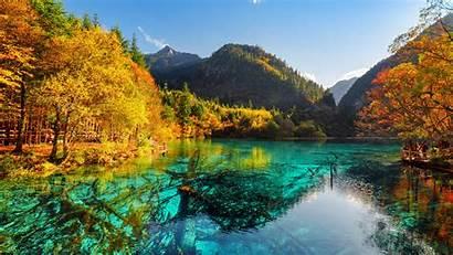China Jiuzhaigou Park Valley Autumn Nature Fallen