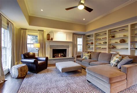 Raised Tray Ceiling by Beautiful Leopard Rug In Family Room Traditional With Tray