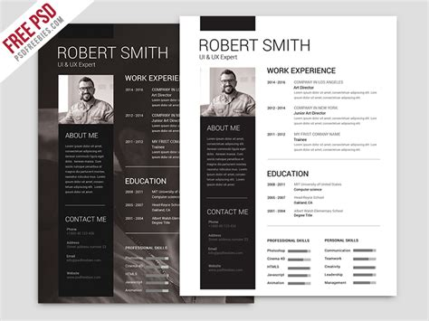freebie simple and clean resume free psd template by psd