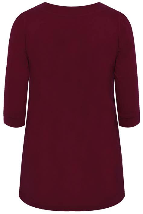 burgundy t shirt s burgundy scoop neckline t shirt with 3 4 sleeves plus size