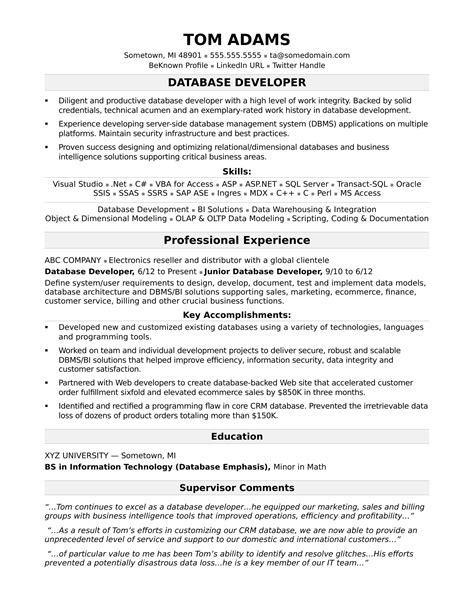 Resume For It sle resume for a midlevel it developer
