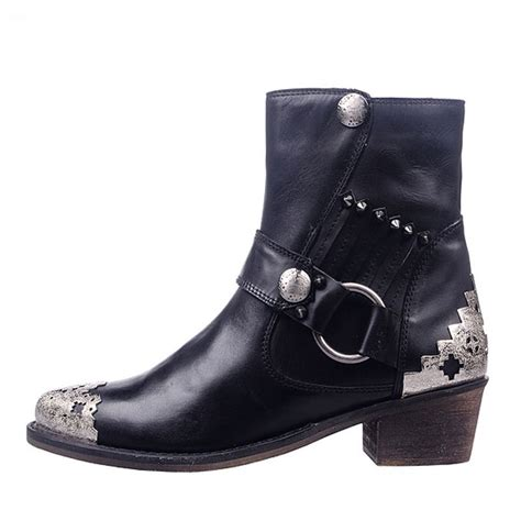 motorcycle boots shoes womens ladies metal buckle flat ankle boots shoes pointed