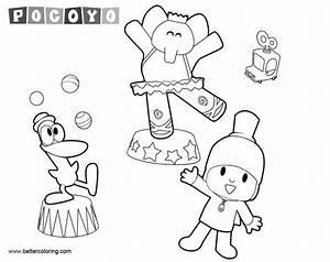 Pocoyo Coloring Pages Elly Pato And Pocoyo Dancing