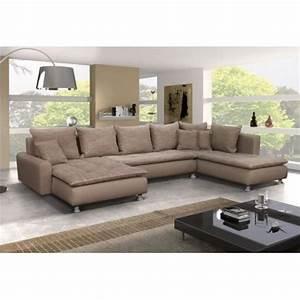 grand canape panoramique 7 places dante en tissu et simili With tapis de sol avec canapé d angle tissu en u