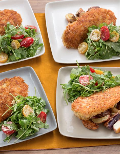 Healthy and delicious crispy baked panko chicken breast with parmesan. Parmesan-Crusted Chicken with Roasted Potatoes & Cherry Tomato-Arugula Salad   Recipe   Hello ...