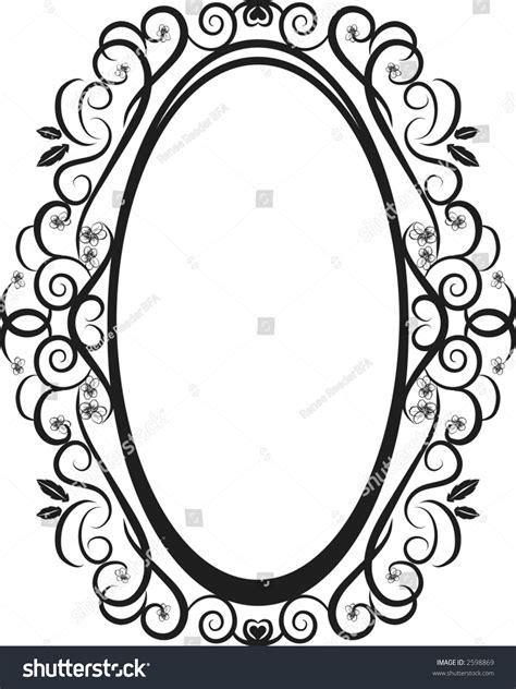 illustration pansies leaves oval frame design stock vector