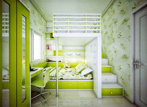 Catchy Kids Bedroom With Lime Green Color Ideas