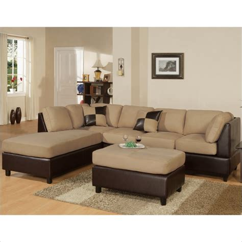 poundex microfiber sectional sofa bobkona hungtinton microfiber faux leather 3