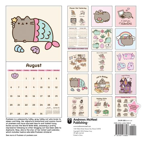 pusheen cat wall calendar calendarscom