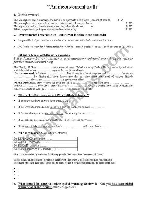 An Inconvenient Truth Worksheet Answers  Kidz Activities