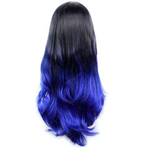 Wiwigs Long Wavy Lady Wigs Black Brown And Blue Dip Dye