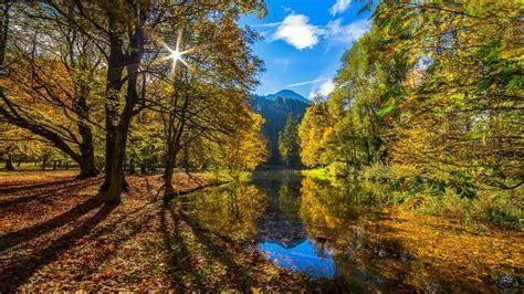 autumn sun autumn sun forest river HD wallpaper