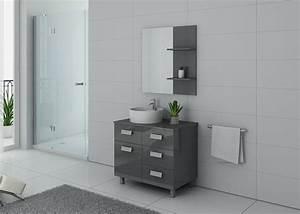 Meuble Simple Vasque : meuble de salle de bain gris milan meuble de salle de bain simple vasque 80 cm distribain ~ Teatrodelosmanantiales.com Idées de Décoration