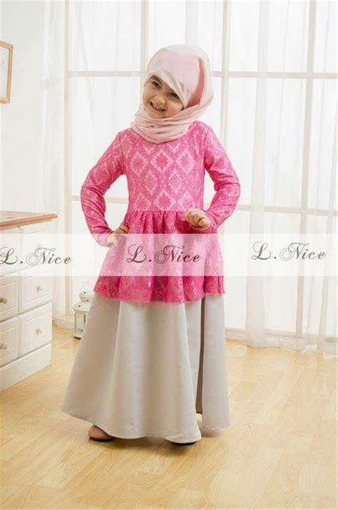 jual baju muslim gamis anak perempuan cewek impor branded dress cantik pink di lapak gaya si
