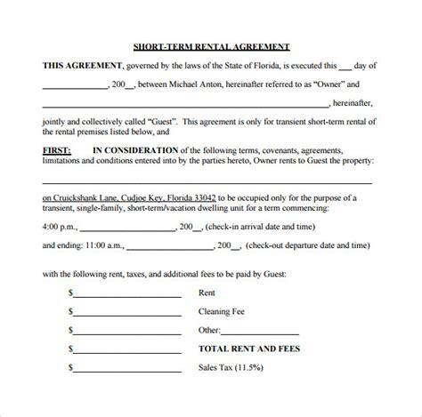 short term rental agreement sample templates