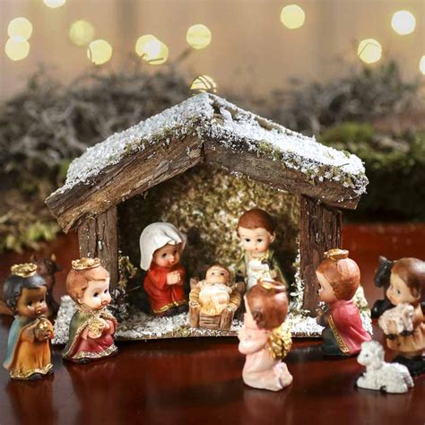 miniature nativity scene stable christmas miniatures