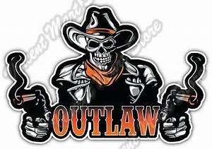 Outlaw Skull Western Cowboy Bandit Gun Car Bumper Vinyl ...