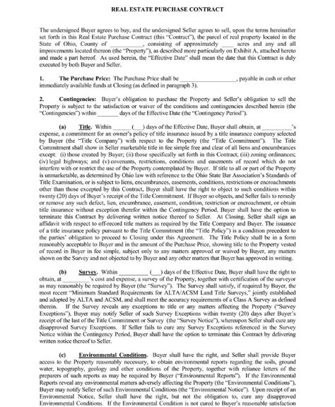 real estate purchase contract examples  word