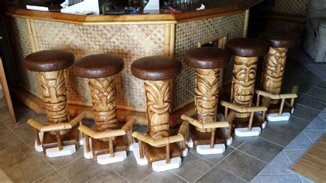 Tiki Bar Furniture by Custom Made Outdoor Tiki 6 Pack Bar Stools By Belly Up Pub