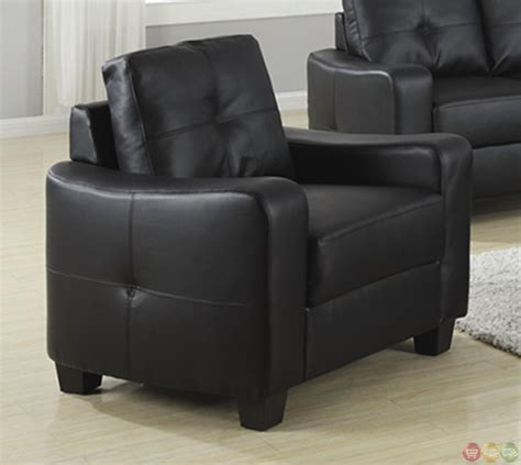 Jasmine Contemporary Black Bonded Leather Sofa And