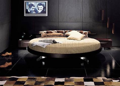 rotating bed modern bedroom set with round rotating bed in wenge finish