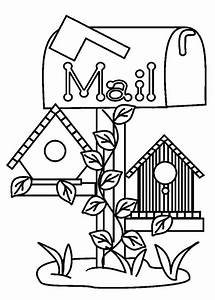 Bird House Under Mail Box Coloring Pages Best Place To ...