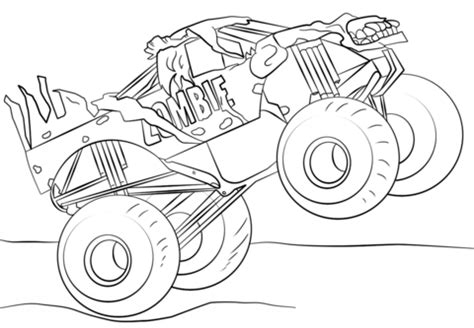 Zombie Monster Truck coloring page Free Printable