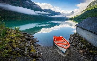 Norway Europe Lake Mountains Reflection Fjords Landscape