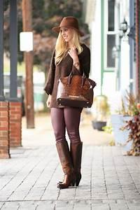 { Brown u0026 Burgundy Oversized sweater Leather skinny jeans u0026 Tall boots } - Meaganu0026#39;s Moda