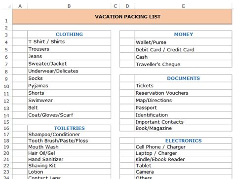 travel packing list template a collection free excel templates for your daily use now