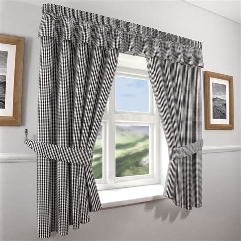 gingham check kitchen curtains black white  wide