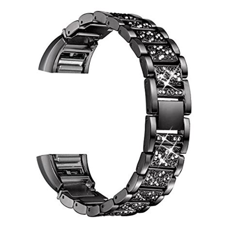 bayite bling bands compatible fitbit charge 2 replacement metal bands with rhinestone bracelet