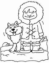 Eskimo Coloring Husky Pages Boys sketch template